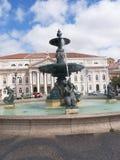 Het Rossiovierkant is de populaire naam van Pedro IV Vierkant in de stad van Lissabon, in Portugal Stock Fotografie