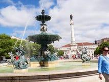 Het Rossiovierkant is de populaire naam van Pedro IV Vierkant in de stad van Lissabon, in Portugal Stock Foto's
