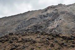 Het rotsachtige landschap in het Nationale park van Tongariro dichtbij Whakapapa-dorp en de ski nemen in de zomer zijn toevlucht Royalty-vrije Stock Foto's