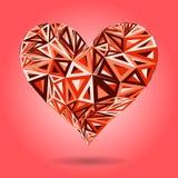 Het roze abstracte hart van de valentijnskaartendag met driehoeken Stock Foto