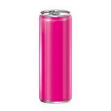 Het roze aluminium kan op witte achtergrond. Stock Foto