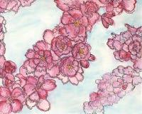 Het roze appelbloesem schilderen Stock Afbeeldingen