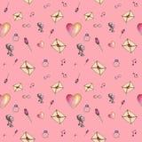 Het roze betoverende patroon van de beeldverhaalvalentijnskaart Royalty-vrije Stock Afbeelding