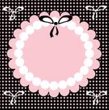 Het roze frame met zwarte kleine boog. Stock Foto