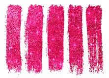 Het roze glanzen schittert geïsoleerde poetsmiddelsteekproeven Royalty-vrije Stock Afbeelding