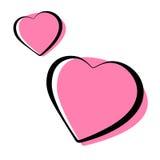 Het roze hart gaf geschetste pictogrammen vectorillustratie gestalte stock foto's
