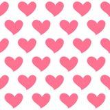 Het roze hart isoleerde naadloos patroon op witte achtergrond Symbool van liefde Royalty-vrije Stock Foto's