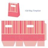 Het roze malplaatje van de giftzak met strepen en punten Stock Afbeelding