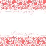 Het roze malplaatje van de hartenbanner stock illustratie