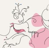 Het roze malplaatje van de vogelkaart stock foto