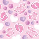 Het roze naadloze patroon van de baby stock illustratie