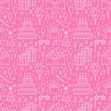 Het roze naadloze patroon van de verjaardagspartij, vlakke lijnillustratie Vectorpictogrammen van gebeurtenisagentschap, huwelijk vector illustratie
