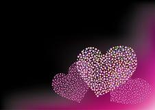 Het roze neon van harten Stock Afbeelding