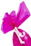 Het roze Paasei van de Chocolade Van hoek royalty-vrije stock fotografie