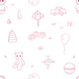 Het roze patroon van het overzichtsspeelgoed Royalty-vrije Stock Foto