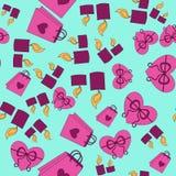 Het roze patroon van Valentine Day met blauwe achtergrond Royalty-vrije Illustratie