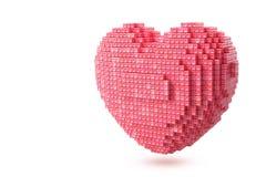 Het roze pixelated hart Stock Fotografie