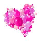 Het roze purpere ballons vliegen stock fotografie