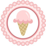 Het roze Ronde Etiket van de Roomijskegel Stock Fotografie