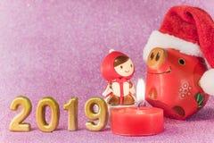 Het roze schittert achtergrond voor de Kaarten van het Nieuwjaar met grappig beeldje royalty-vrije stock afbeelding