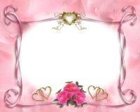 Het roze van de de uitnodigingsgrens van het huwelijk Stock Afbeelding