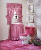 Het roze vastgestelde schot van de badruimte Stock Foto's