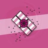 Het roze Witte Verpakte Giftpictogram speelt Wervelingenstrepen mee Royalty-vrije Stock Foto