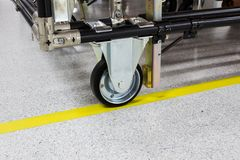 Het rubberwiel van de industriekar in elektronische productie Stock Foto