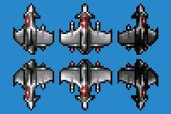Het ruimte geplaatste schipanimatie van de pixelkunst - stijlvector met 8 bits Royalty-vrije Stock Fotografie