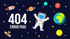 Het ruimte vectormalplaatje van de 404 foutenpagina voor website royalty-vrije illustratie