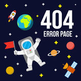 Het ruimte vectormalplaatje van de 404 foutenpagina voor website stock illustratie