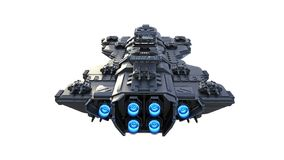 Het ruimteschip die, vreemd die UFOruimtevaartuig tijdens de vlucht vliegen op witte achtergrond, achter 3D mening wordt ge?solee stock illustratie