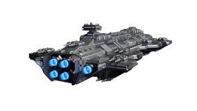 Het ruimteschip die, vreemd UFOruimtevaartuig vliegen dat tijdens de vlucht op witte achtergrond, achter 3D mening wordt ge?solee stock illustratie