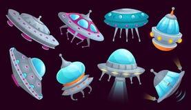 Het ruimteschip van beeldverhaalufo Het vreemde ruimtevaartuig futuristische voertuig, ruimteinvallers verscheept en UFO geïsolee stock illustratie