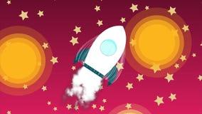 Het ruimteschip van de beeldverhaalraket met rooklancering in hemel met sterren, ruimteexploratie, van het start kunstontwerp cre stock illustratie