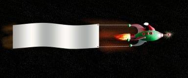 Het ruimteschip van Kerstmis met banner Stock Afbeeldingen