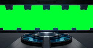 Het ruimteschipbinnenland van de Llandingsstrook op groene achtergrond 3 wordt geïsoleerd die Royalty-vrije Stock Foto