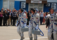 Het Ruimtevaartuig Crewmembers van Soyuz stock fotografie