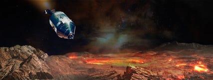 Het ruimtevaartuig die bij de vreemde planeet landen stock illustratie