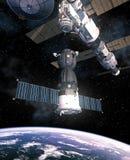 Het ruimtevaartuig treft om met Internationaal Ruimtestation te dokken voorbereidingen vector illustratie