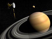Het ruimtevaartuig van Cassini dichtbij Saturn en 3D titaansatelliet - geef terug Stock Foto's