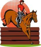 Het ruiter en paard springen Royalty-vrije Stock Fotografie