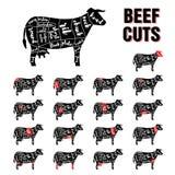 Het rundvlees snijdt Vectormalplaatjereeks Royalty-vrije Stock Foto's