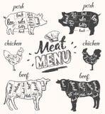 Het rundvlees van de het varkensvleeskip van het vleesmenu snijdt hand getrokken vector Stock Afbeeldingen