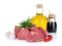 Het rundvleesvlees van het filetlapje vlees met kruiden en specerijen Stock Foto's