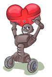 Het runing van de robot met liefdebel Stock Foto