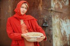 Het Russische blonde met blauwe ogen in een rode hoofddoek werkt aan het landbouwbedrijf Het concept vrouwelijke schoonheid en pe Stock Foto's