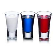 Het Russische concept van vlag alcoholische schoten stock foto's
