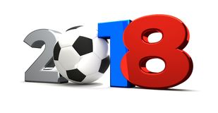 het Russische gekleurde symbool van 2018 de bal 3d 2018 van de voetbalvoetbal geeft terug stock illustratie
