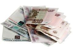 Het Russische geld op een witte achtergrond Stock Fotografie